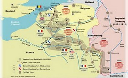 World War Trenches - 1917 1918 us in europe battles map