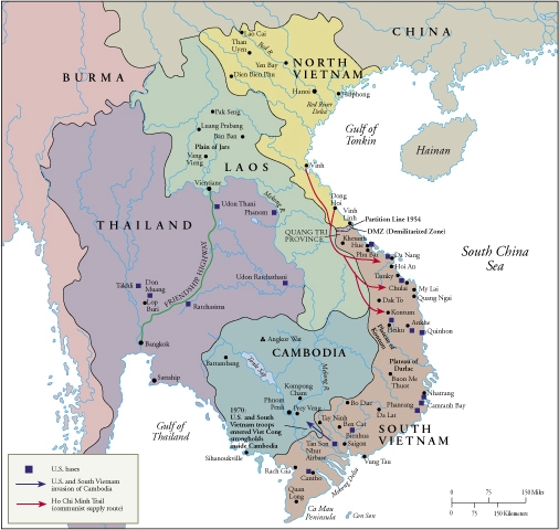 Map Of Asia During Vietnam War.Vietnam War Casualties
